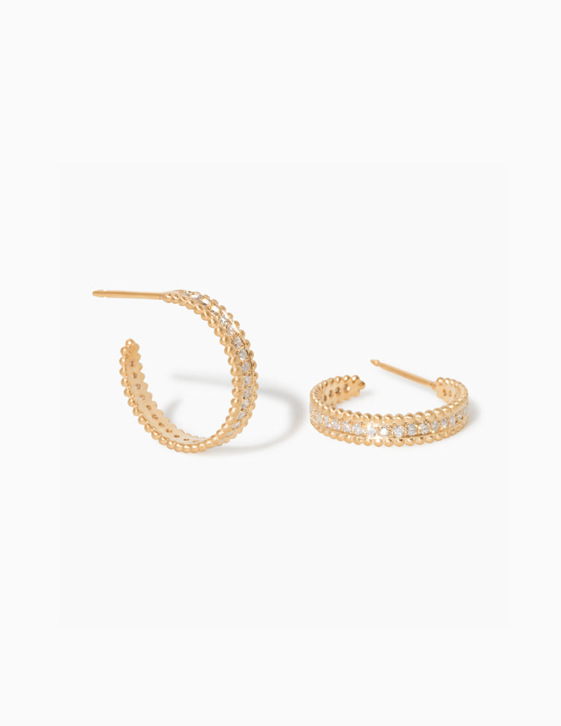 Medium Embedded Diamond Hoops