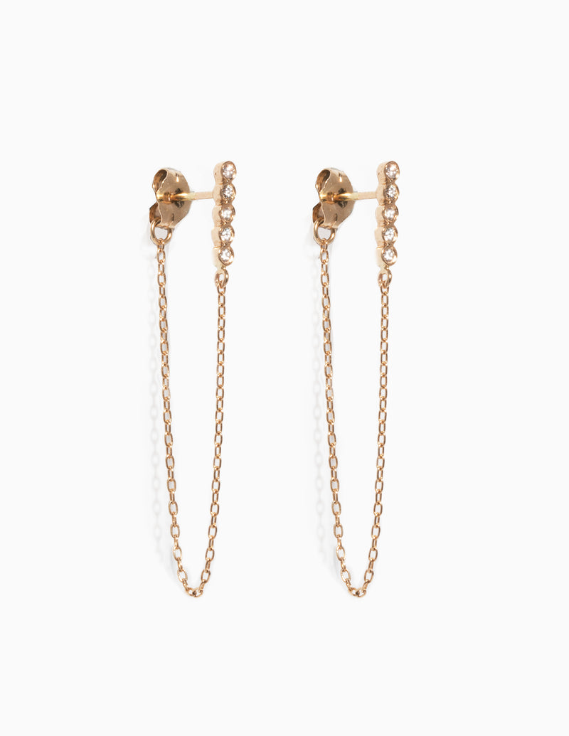 Five Diamond and Chain Earrings