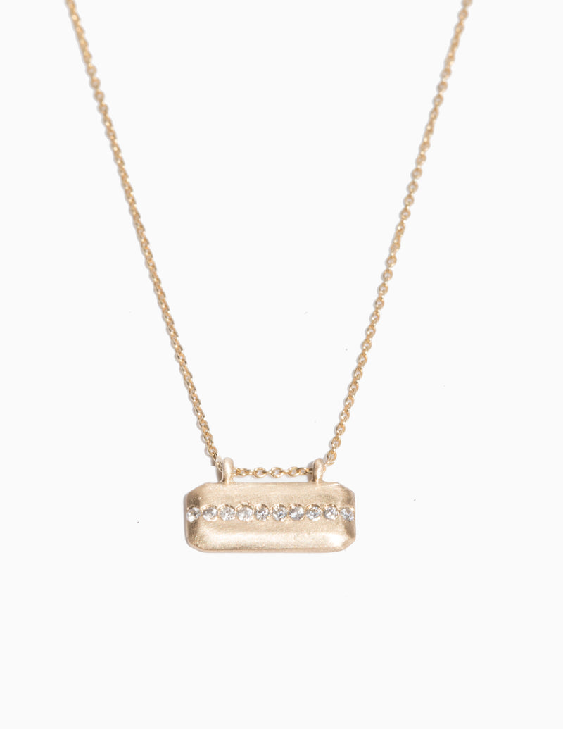 Horizontal Diamond Line Tag Necklace