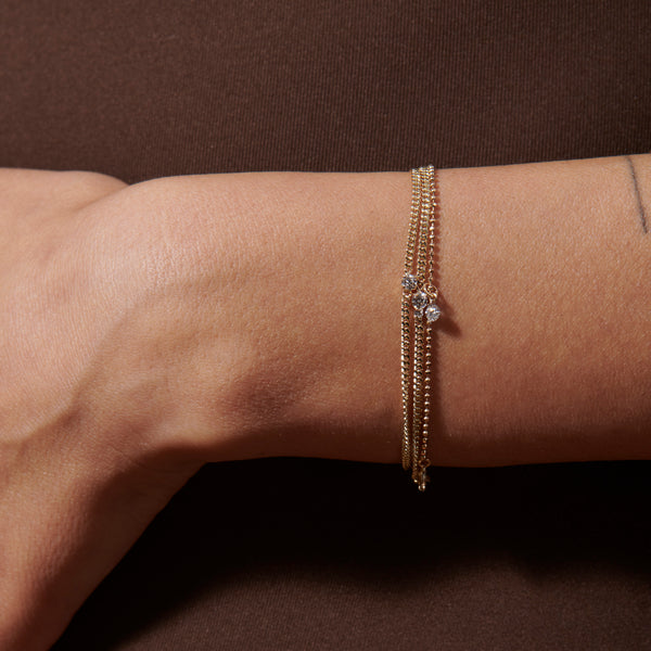 Pierced Diamond Ball Chain Bracelet