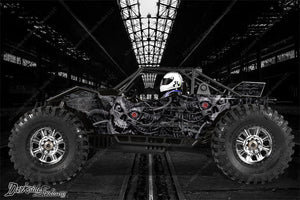 "AXIAL YETI MONSTER BUGGY XL WRAP GRAPHICS ""MACHINEHEAD"" FITS OEM BODY PARTS 1/8 - Darkside Studio Arts LLC."