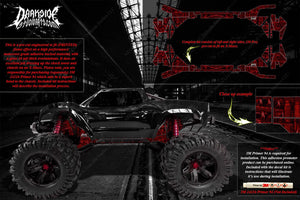 TRAXXAS X-MAXX CHASSIS / SHOCK TOWER HOP UP 'MACHINEHEAD' GRAPHICS DECALS RED - Darkside Studio Arts LLC.
