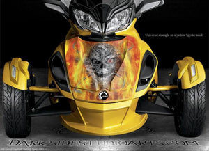 "CAN-AM SPYDER DECALS KIT SET GRAPHICS WRAP PARTS ""MACHINEHEAD"" FIRE EDITION - Darkside Studio Arts LLC."