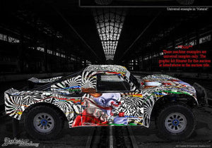 "LOSI 5IVE T 4WD TRUCK WRAP GRAPHIC WRAP ""TICKET TO RIDE"" FITS OEM BODY PARTS - Darkside Studio Arts LLC."