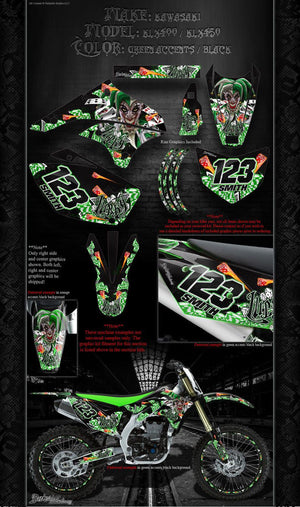 "KAWASAKI 2008-2012 KLX400 KLX450 ""LUCKY"" GRAPHICS WRAP DECALS FOR OEM PARTS - Darkside Studio Arts LLC."