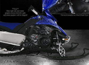 "YAMAHA NYTRO 2008-13 SNOWMOBILE GRAPHICS DECALS WRAP ""MACHINEHEAD"" BLUE & BLACK - Darkside Studio Arts LLC."