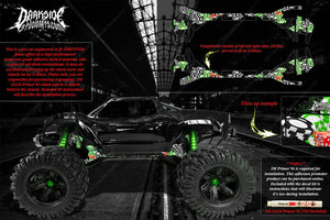 TRAXXAS X-MAXX CHASSIS / SHOCK TOWER HOP UP 'LUCKY' GRAPHICS DECALS GREEN - Darkside Studio Arts LLC.