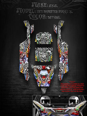 "AXIAL YETI MONSTER BUGGY XL WRAP GRAPHICS ""TICKET TO RIDE"" FITS OEM PARTS 1/8 - Darkside Studio Arts LLC."