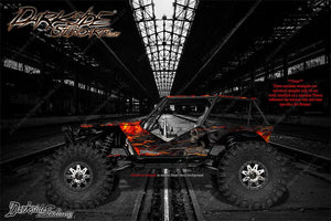 "AXIAL RR10 BOMBER GRAPHICS WRAP DECALS ""HELL RIDE"" FITS OEM BODY PARTS - Darkside Studio Arts LLC."