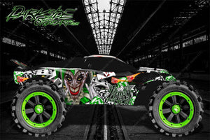 "TRAXXAS RUSTLER GRAPHICS DECALS WRAP ""LUCKY"" FITS OEM BODY PARTS GREEN - Darkside Studio Arts LLC."