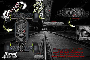LOSI 8IGHT-T 4.0 CHASSIS WRAP KIT 'MACHINEHEAD' HOP UP DECALS FITS OEM PARTS - Darkside Studio Arts LLC.
