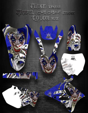 "YAMAHA YZ125 YZ250 2002-2012 2-STROKE ONLY GRAPHICS ""THE JESTERS GRIN"" BLUE - Darkside Studio Arts LLC."