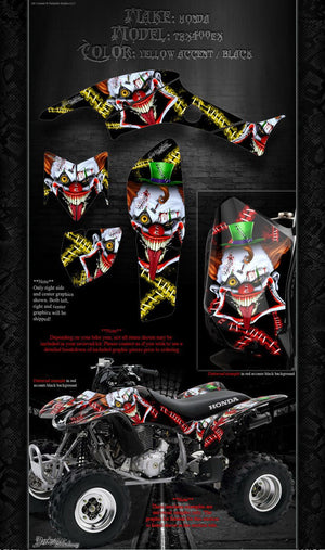 HONDA TRX400EX 1999-2004 WRAP DECAL GRAPHIC SET KIT 'STIFF UPPER LIP' YELLOW - Darkside Studio Arts LLC.