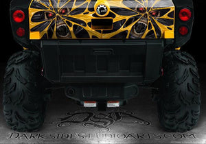 "CAN-AM COMMANDER TAILGATE PANEL GRAPHIC ""THE DEMONS WITHIN"" WHITE DECAL KIT - Darkside Studio Arts LLC."