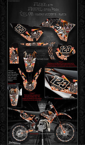 """LUCKY"" GRAPHICS WRAP FITS OEM PLASTICS ON KTM 2009-2015 SX50 SX65 KTM65 KTM50 - Darkside Studio Arts LLC."