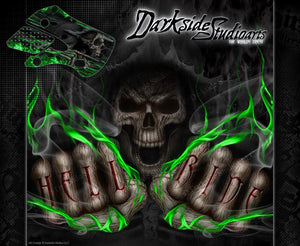"KAWASAKI 1985-2015 KX60 KX65 ""HELL RIDE"" GRAPHICS WRAP DECALS FOR OEM AND UFO - Darkside Studio Arts LLC."
