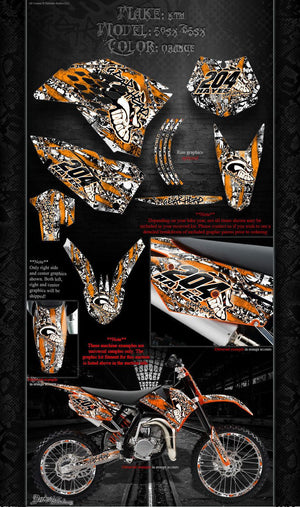 """GEAR HEAD"" GRAPHICS WRAP FITS KTM 2009-2015 SX50 SX65 KTM65 KTM50 65SX 50SX - Darkside Studio Arts LLC."