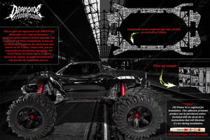TRAXXAS X-MAXX CHASSIS / SHOCK TOWER HOP UP 'MACHINEHEAD' GRAPHICS DECALS WHITE - Darkside Studio Arts LLC.