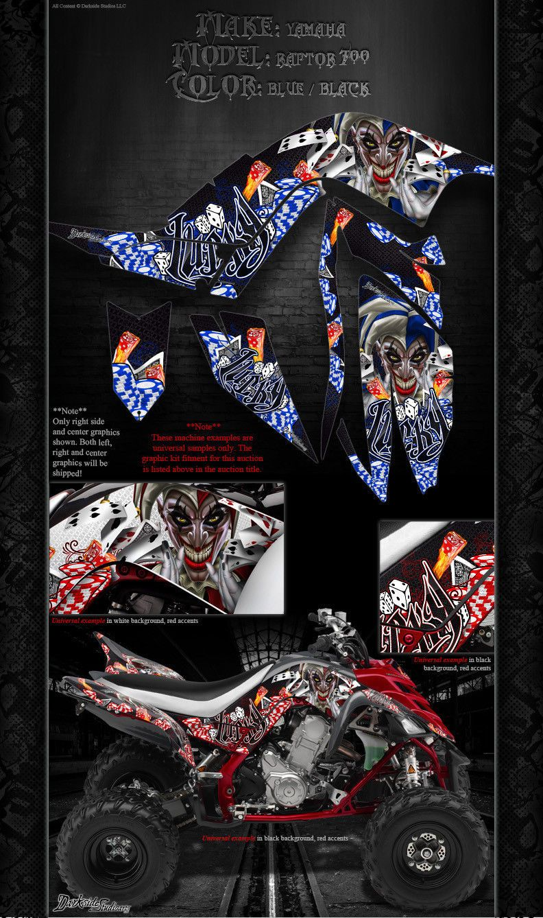 """YAMAHA 2006-2012 RAPTOR 700 /""""THE DEMONS WITHIN/"""" GRAPHICS FOR BLACK PARTS WRAP"""