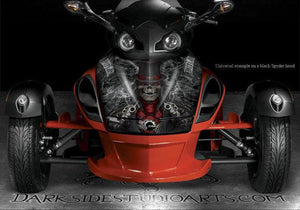 "CAN-AM SPYDER HOOD GRAPHICS DECAL SET ACCESSORIES PARTS WHITE ""THE OUTLAW"" WRAP - Darkside Studio Arts LLC."