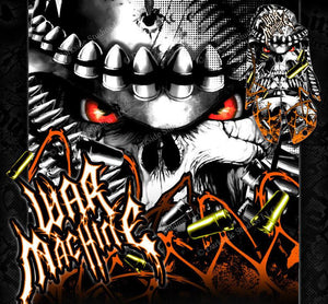 "POLARIS PREDATOR GRAPHICS WRAP DECAL KIT ""WAR MACHINE"" FITS OEM PARTS ORANGE - Darkside Studio Arts LLC."