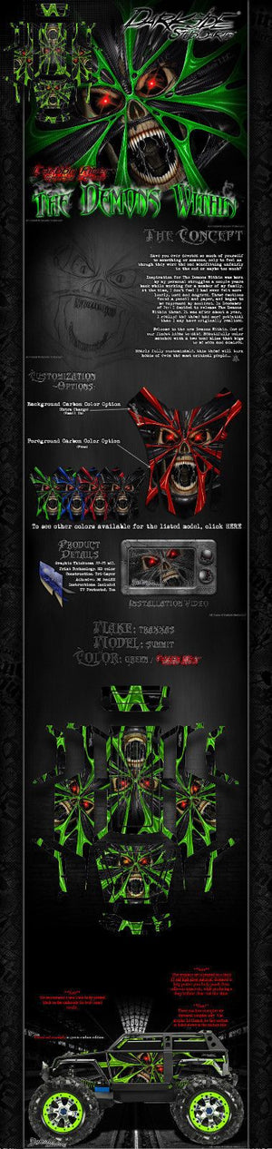 "TRAXXAS SUMMIT GRAPHICS WRAP DECALS ""THE DEMONS WITHIN"" FOR OEM BODY PARTS GREEN - Darkside Studio Arts LLC."