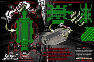 TRAXXAS SLASH 4x4 CARBON FIBER LCG CHASSIS HOP UP DECALS FITS TRA7421 GREEN - Darkside Studio Arts LLC.