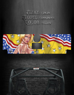 "CAN-AM COMMANDER 800 1000 XT TAILGATE GRAPHICS ""PATRIOTIC SEDUCTION"" YELLOW - Darkside Studio Arts LLC."