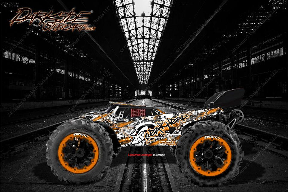 "REDCAT RACING TR-MT8E WRAP GRAPHICS DECALS ""GEARHEAD"" FITS OEM BODY PARTS ORANGE - Darkside Studio Arts LLC."