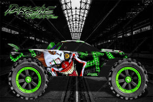 "TRAXXAS RUSTLER GRAPHICS DECALS WRAP ""STIFF UPPER LIP"" GREEN FITS OEM BODY PARTS - Darkside Studio Arts LLC."