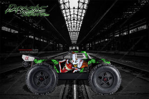 "ARRMA OUTCAST GRAPHICS WRAP DECALS ""STIFF UPPER LIP"" GREEN ACCENT / BLACK - Darkside Studio Arts LLC."