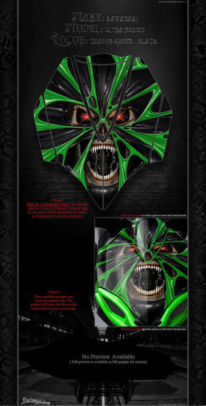 KAWASAKI JETSKI ULTRA SERIES 'THE DEMONS WITHIN' HOOD WRAP SKIN DECAL SET GREEN - Darkside Studio Arts LLC.