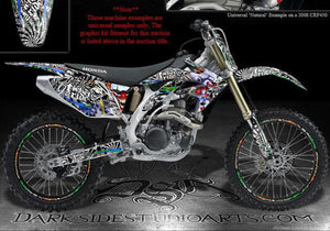 "HONDA CR500 ALL YEARS ""TICKET TO RIDE"" GRAPHICS WRAP FITS OEM PARTS / PLASTICS - Darkside Studio Arts LLC."