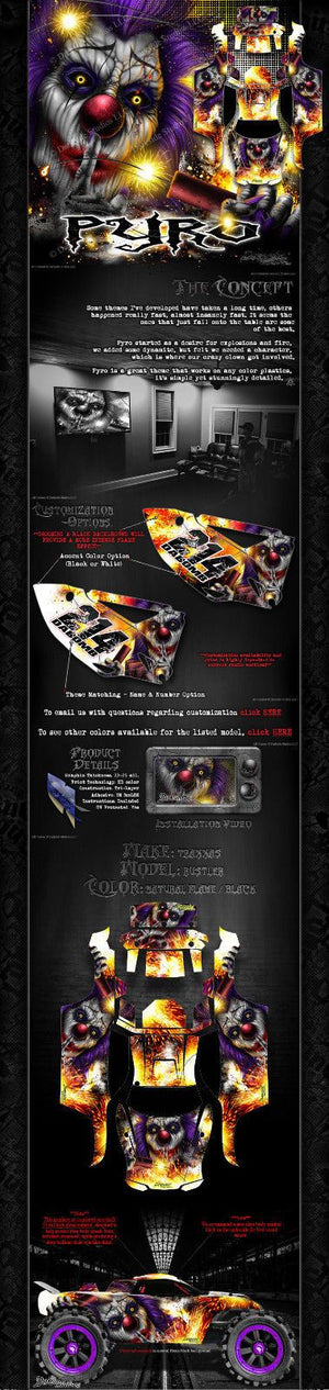 "TRAXXAS RUSTLER GRAPHICS DECALS WRAP ""PYRO"" FITS OEM BODY PARTS - Darkside Studio Arts LLC."