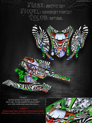 "ARCTIC CAT FIRECAT F5 F6 F7 2003-2006 GRAPHICS DECALS WRAP KIT ""TICKET TO RIDE"" - Darkside Studio Arts LLC."