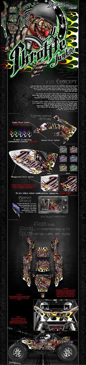 "AXIAL YETI MONSTER BUGGY GRAPHICS DECALS WRAP ""THROTTLE JUNKIE"" FITS OEM PARTS - Darkside Studio Arts LLC."