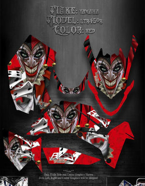 "SUZUKI LTR450R ATV GRAPHICS  ATV GRAPHICS ""THE JESTERS GRIN"" RED MODEL - Darkside Studio Arts LLC."