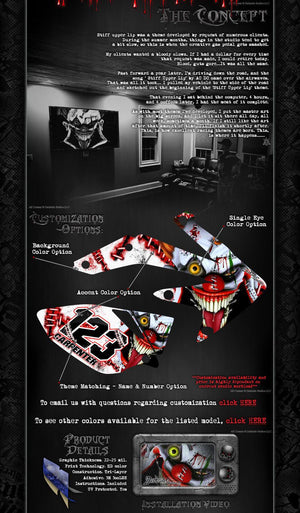 "YAMAHA 2003-2016 XTZ125 ""STIFF UPPER LIP"" CLOWN DECALS GRAPHICS WRAP - Darkside Studio Arts LLC."