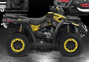 "CAN-AM OUTLANDER '06-11 500 650 GRAPHICS KIT ""THE OUTLAW"" RED MODEL PARTS FENDER - Darkside Studio Arts LLC."