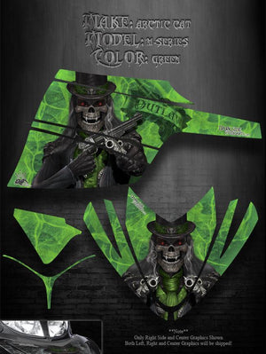 "ARCTIC CAT M-SERIES GREEN 2006-2011 WRAP GRAPHICS ""THE OUTLAW"" CROSSFIRE M8 M7 - Darkside Studio Arts LLC."