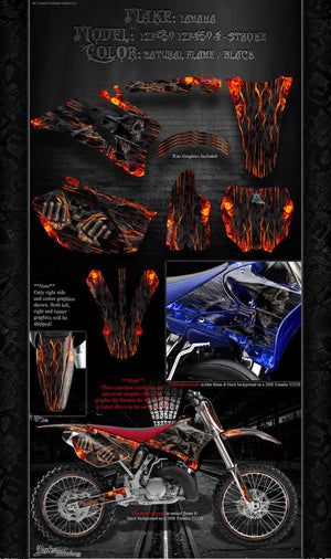 "YAMAHA 1998-2009 YZF250 YZF450 DECAL WRAP ""HELL RIDE"" GRAPHICS SET FOR OEM PARTS - Darkside Studio Arts LLC."