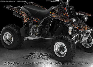 "YAMAHA BANSHEE GRAPHICS DECALS KIT ""HELL RIDE"" NATURAL / BLACK FOR OEM FENDERS - Darkside Studio Arts LLC."
