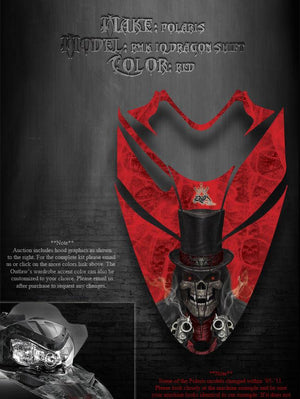"POLARIS 2005-11 RED SHIFT IQ RMK DRAGON HOOD GRAPHICS ""THE OUTLAW"" WRAP SKULLS - Darkside Studio Arts LLC."