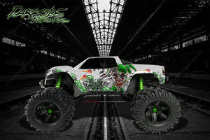 "TRAXXAS X-MAXX GRAPHICS WRAP DECALS ""LUCKY"" FITS PROLINE FORD RAPTOR, CHEVY SILVERADO, BRUTE BASH & STOCK BODY - Darkside Studio Arts LLC."