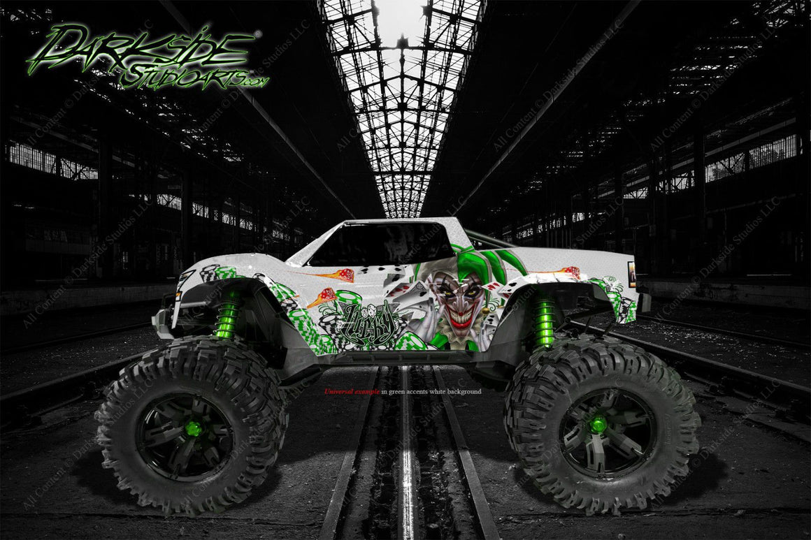 "TRAXXAS X-MAXX GRAPHICS WRAP DECALS ""LUCKY"" FITS STOCK TRAXXAS OR PROLINE FORD RAPTOR BODY - Darkside Studio Arts LLC."