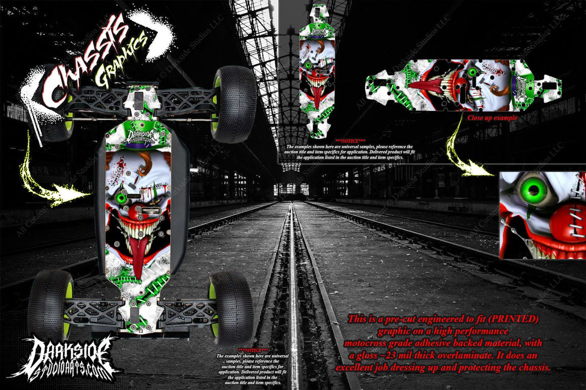 LOSI 8IGHT-T 4.0 CHASSIS WRAP KIT 'STIFF UPPER LIP' HOP UP DECALS FITS OEM PARTS - Darkside Studio Arts LLC.