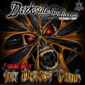 """THE DEMONS WITHIN"" GRAPHICS FITS KTM ALL 1993-1997 SX EXC MXC EGS 360 300 250 - Darkside Studio Arts LLC."