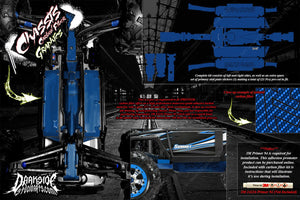 TRAXXAS E-REVO SUMMIT CHASSIS PRINTED CARBON FIBER HOP UP GRAPHICS DECALS BLUE - Darkside Studio Arts LLC.
