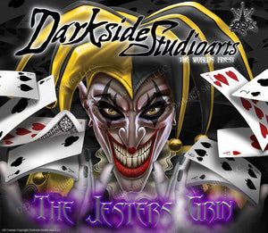 "SKI-DOO 2013-2015 XM REV SUMMIT ""THE JESTERS GRIN"" SIDE PANEL GRAPHICS WRAP - Darkside Studio Arts LLC."