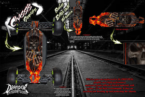 LOSI 8IGHT-T 4.0 CHASSIS WRAP KIT 'HELL RIDE' HOP UP DECAL SET FITS OEM PARTS - Darkside Studio Arts LLC.
